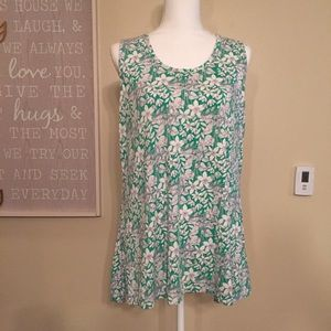 Rose+Olive Green Floral Stretch Tank Top Size 1X